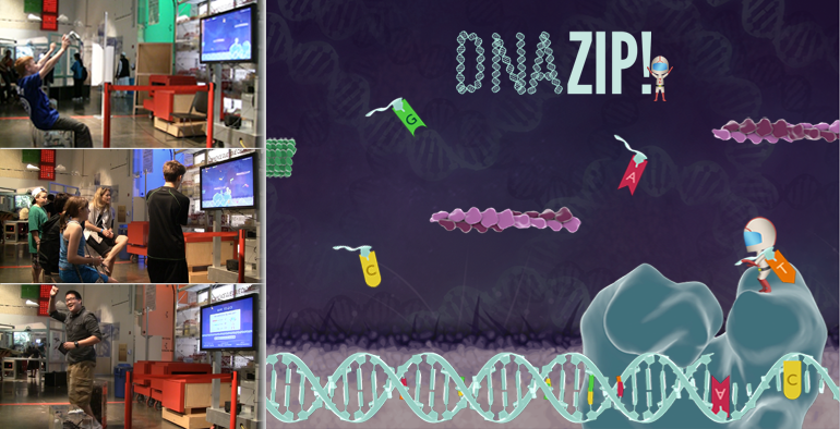 Sample 1: DNAZip! is a video game about DNA replication that was designed to evaluate game-based science learning at the Ontario Science Centre in the spring of 2012.